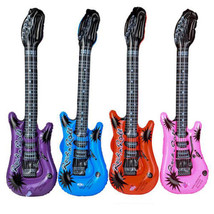Pack of 12 Inflatable Rock Star Electric Guitars Assorted Color Party Fa... - $11.45