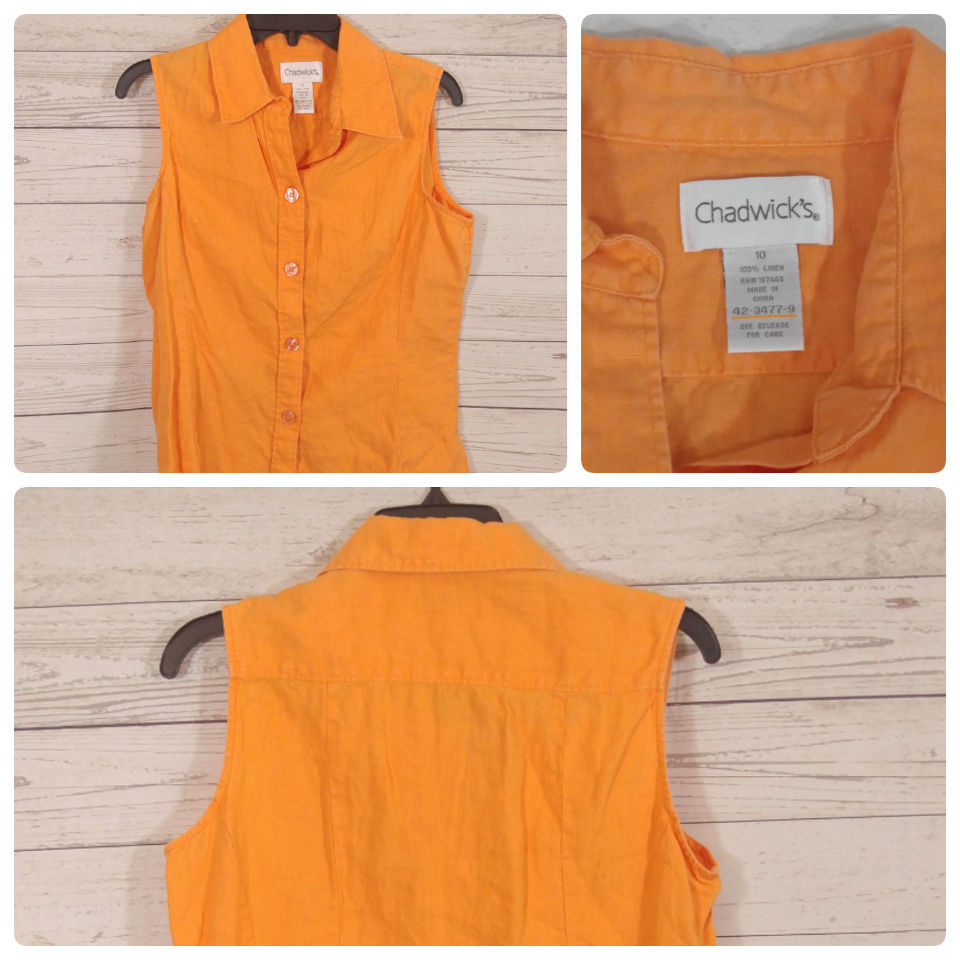Primary image for Chadwicks Women's Sz-10 Sleeveless Bright Orange Button Down Blouse Linen *I011