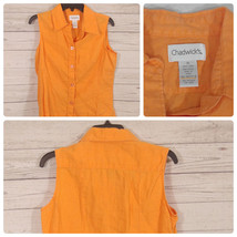 Chadwicks Women's Sz-10 Sleeveless Bright Orange Button Down Blouse Line... - $21.51