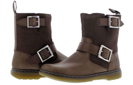 Doc Martens Brown GAYLE Fur Lined Oily Leather Double Buckle Boots WMS 1... - $99.99