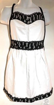 Apron White With Black Print Accent Bands And Lace Trim Back Tie Univers... - $12.99