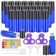 Cobalt Blue Glass Roll On Bottle Essential Oil Roller Ball Bottles 24 Pi... - $14.66