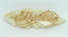 Gold Tone Frieda Signed Name Pin Brooch Mother of Pearl Vintage - $19.79
