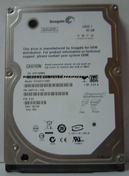 "40GB SATA 2.5"" Drive Seagate ST9402115AS Tested Free USA Ship Our Drives Work"