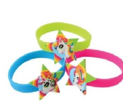 12 Unicorn Rubber Bracelets Rainbow Colors Mystic Favors Birthday Party Event VP - $7.00