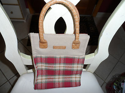 Primary image for Longaberger red, green and tan check tote