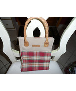 Longaberger red, green and tan check tote - $7.00
