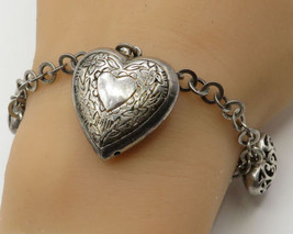 925 Silver - Vintage Puffy Filigree Love Hearts Charms Chain Bracelet - ... - $67.19
