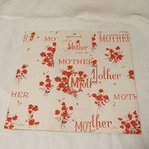 Vintage Wrapping Paper Mother Roses Ephemera Mother's Day White Red Hallmark - $9.89