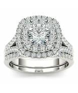 2Ct Diamond Wedding Bridal Set 14K White Gold Over Round Cut Engagement ... - $99.11