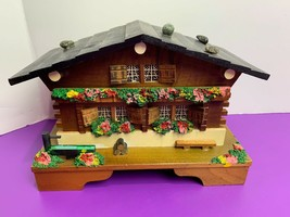 Vintage Wooden Chalet Japan Music Jewelry Box Flowers Well on Porch Rock... - $23.36