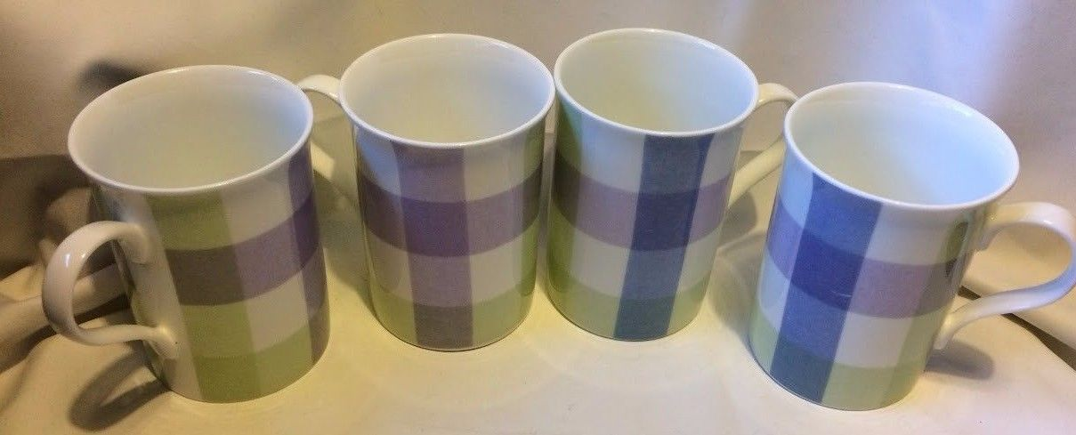Laura Ashley Mitford Check Coffee Tea Mugs Lot 4 Fine BONE CHINA Made in England - $50.99