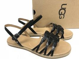 UGG Australia Larisa Black Leather & Jute Ankle Strap Comfort Sandal 101... - €45,13 EUR