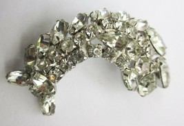 "ABSTRACT FISH SHAPED BROOCH CLEAR RHINESTONES and CRYSTALS VINTAGE PIN 3"" - $9.49"