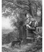 ENGLISH GIRL Dreams of New Future Dog London in Distance- 1875 Print Eng... - $19.80