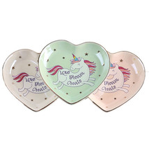Ceramic Unicorn Heart-shaped Decorative plates Snack candy tray Jewelry ... - $9.49