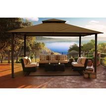 Luxury Patio Aluminium Gazebo Outdoor Cocoa Sunbrella Top Garden Giant 1... - $1,575.46
