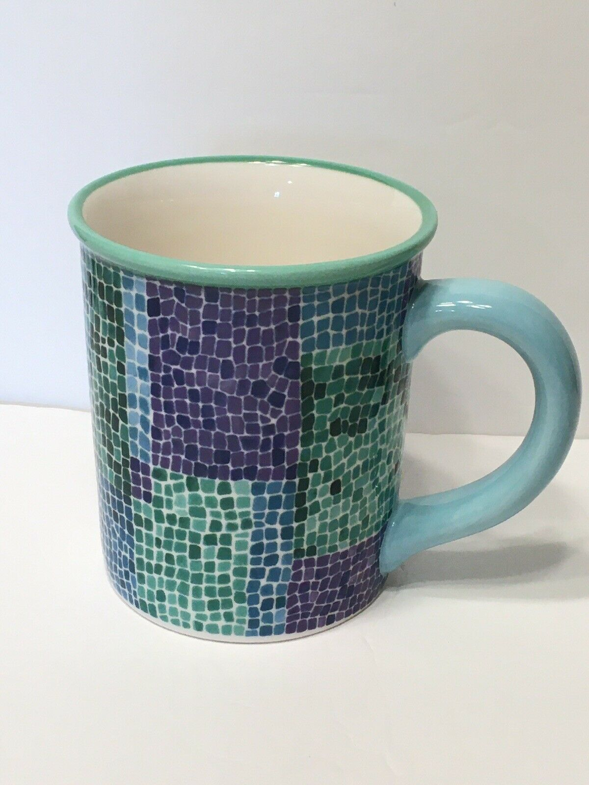 Primary image for  Starbucks 2002 Barista Blue/Green/Purple 18 oz Mosaic Tile Coffee Mug Cup EUC