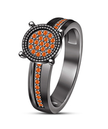 Women's Solitaire W/ Accents Ring Orange Sapphire Black Gold Plated 925 ... - $82.89