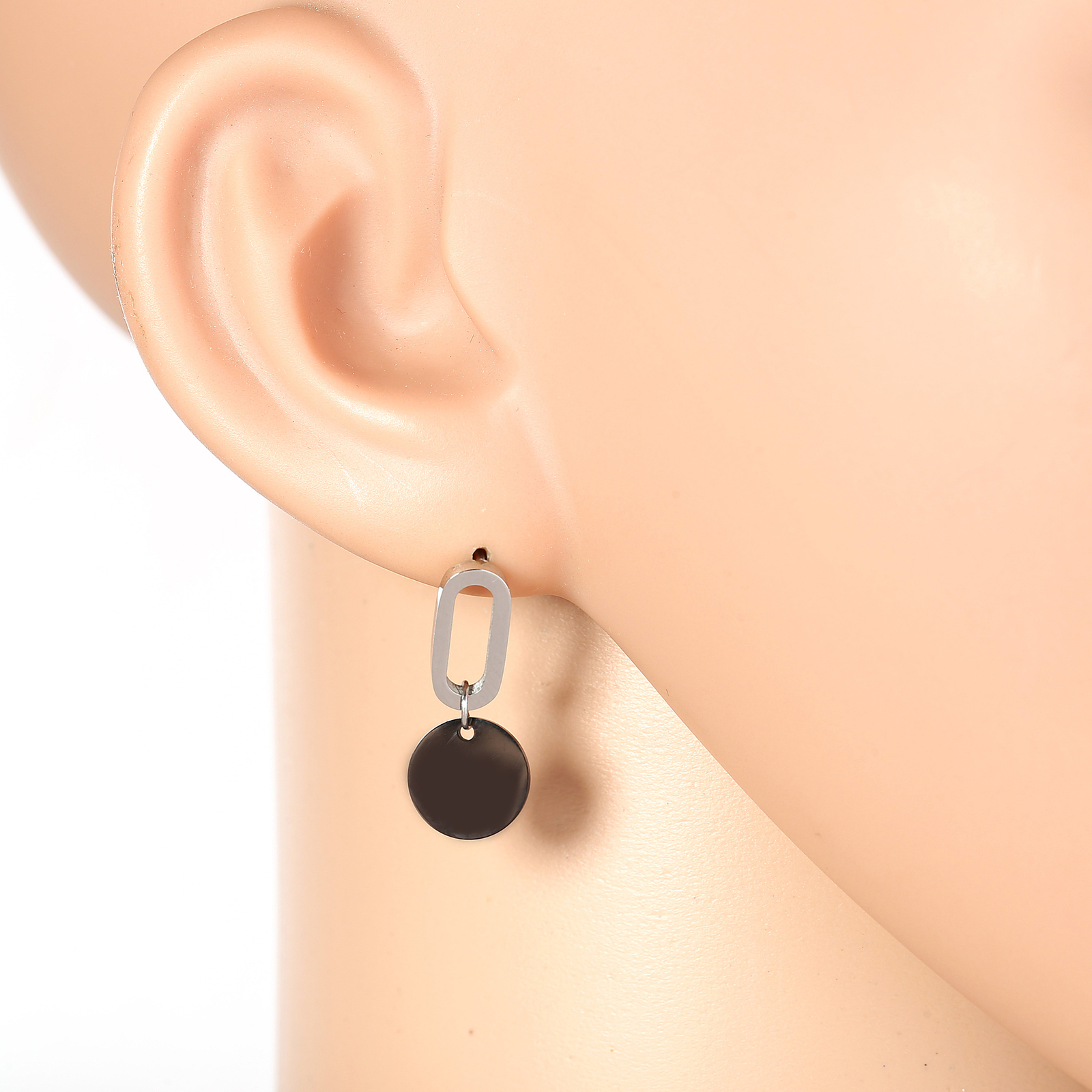 Primary image for Stylish Silver Tone Designer Drop Earrings with Jet Black Gun-Metal Circle