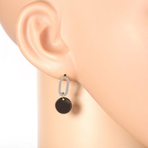 Stylish Silver Tone Designer Drop Earrings with Jet Black Gun-Metal Circle - $13.99