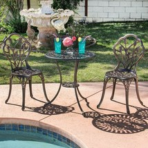 Set of 3 Outdoor Furniture Tulip Design Patio Balcony Elegant Bistro Hom... - $158.35