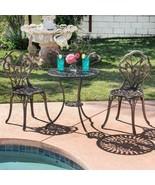 Set of 3 Outdoor Furniture Tulip Design Patio Balcony Elegant Bistro Hom... - $158.35