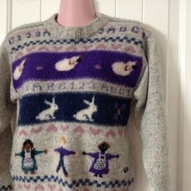 Vintage Woolrich Sweater Woman Small Sheep Children Numbers Letters Hear... - $49.45