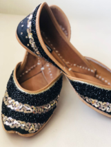 Black Gold embellished sequinned wedding shoes, Beaded Bridal Indian foo... - $56.99