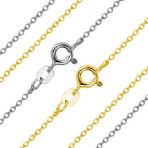 1.17mm 14k Solid Yellow Or White Gold Thin Cable Link Italian Chain Neck... - $99.05+