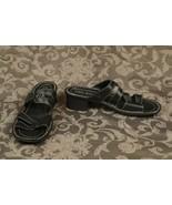 Josef Seibel Women's Size 38 Black Leather Slip On Heel Strappy Sandals - $24.75