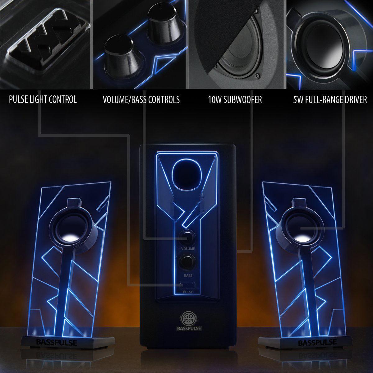 GOgroove BassPULSE Computer Speaker System w/LED Glow Lights & Powered Subwoofer