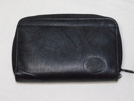 Buxton Heiress Black Leather Double Zip Organizer Wallet