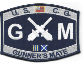 """4.5"""" COAST GUARD GUNNER'S MATE EMBROIDERED PATCH - $16.24"""
