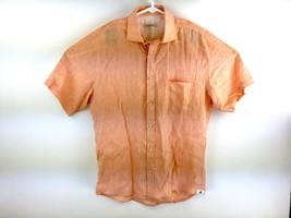 Brooksfield Men's Tangerine 100% Linen Short Sleeve Button Up Shirt Size 3 - $39.59