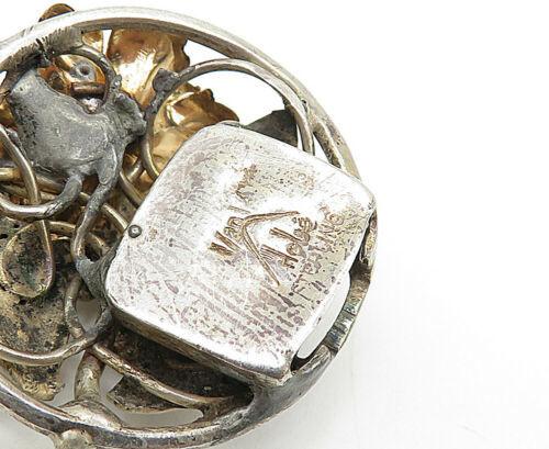 HOBE 925 Silver - Vintage Two Tone Sculpted Flower Link Chain Bracelet - B5188