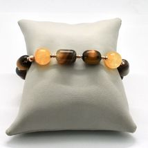 Silber Armband 925 Laminat Gold Pink mit Tigerauge Jade Chalcedon image 4