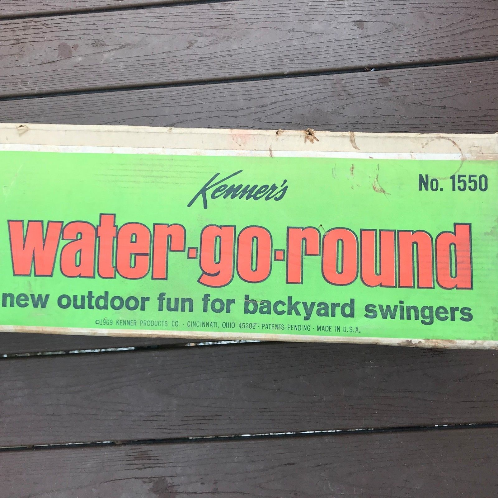 Vintage 1969 Kenner Water Go Round Merry Backyard Hose Ride Toy w Box RARE MINT
