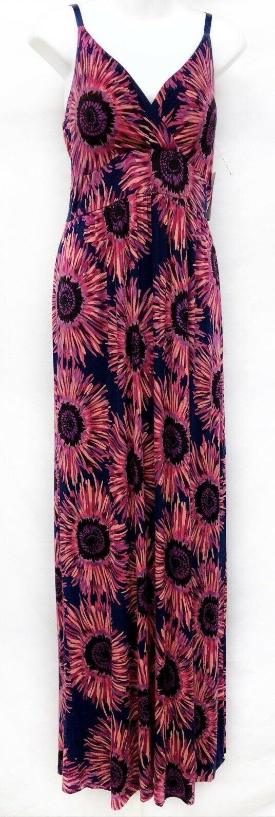 NWT ($50) ND Maxi Dress Size L Sunflower Coral Festival Empire Waist Sleeveless