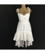 Initial J Dress Sm XS White Eyelet Embroider Dot Bow Tie Full High Low S... - $9.95