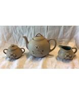Pigeon Forge Pottery teapot sugar bowl & creamer dogwood design - $5.94