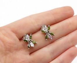 925 Silver - Vintage Cubic Zirconia & Peridot Butterfly Drop Earrings - ... - $25.23