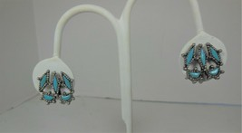 Vintage Faux Turquoise Southwest style Clip On Earrings - $10.88