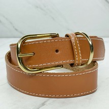 Brown Vintage Thick Stitched Leather Belt Size Small S 26 - $18.59