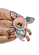 "2"" Tall Large Enameled Pig Pin Backpack Brooch Black Enamel Finish, C Clasp - $13.70"