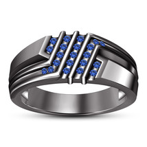 Blue Sapphire Mens Wedding Engagement Ring Band 14k Black Gold Finish 925 Silver - $93.99
