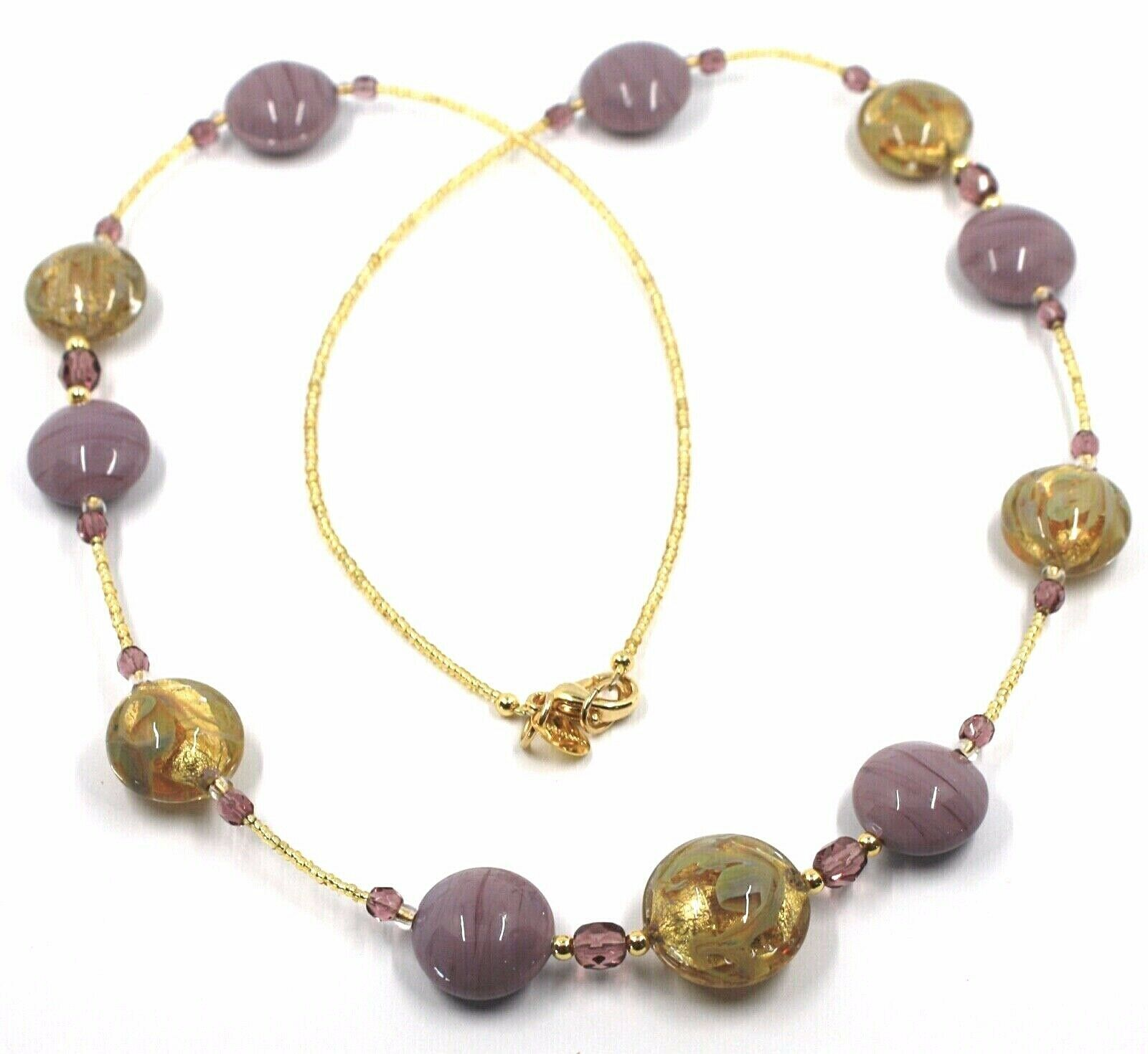 """LONG NECKLACE PURPLE YELLOW MURANO GLASS DISC GOLD LEAF, 70cm, 27.5"""" ITALY MADE"""