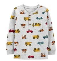 NWT Toddler Boy Carter's Vehicles Henley Top (24M, Gray, 100% Cotton)  - $12.86