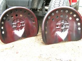 TWO Steel tractor Farm machinery metal stool seat s New Old Style RED bz - $119.98