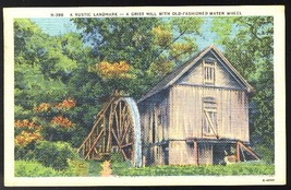 NC Asheville Grist Mill with Old Fashioned Water Wheel 1945 Linen Postcard - $4.99
